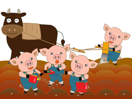 To farming cattle and swine Illustration