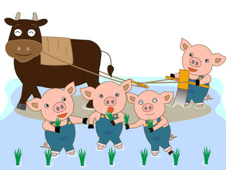 fruitful: To farming cattle and swine Illustration