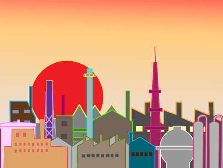 early in the evening: Sunset industrial area Illustration