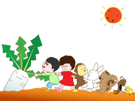 super dog: Harvested radishes Illustration