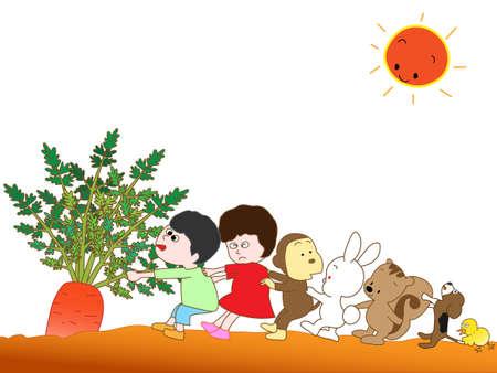 super dog: Carrots harvest Illustration