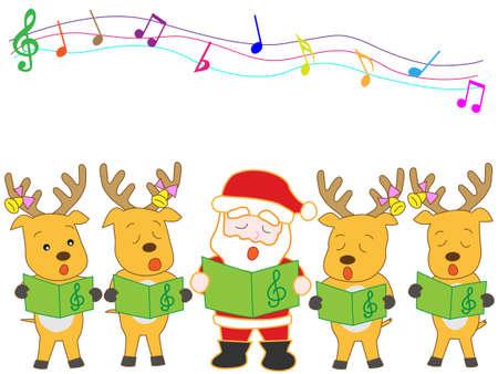 chorus: Santa Claus and reindeer Christmas concert Illustration