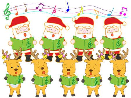 nursery tale: Santa Claus and reindeer Christmas concert Illustration