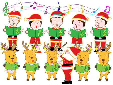 association: Santa Claus and reindeer Christmas concert Illustration