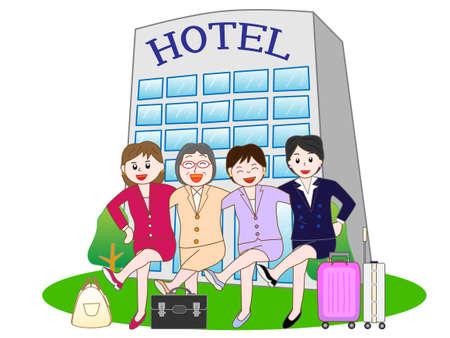 ビジネス ホテルに滞在する女性