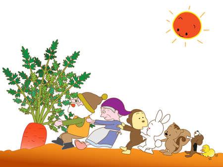 Carrots harvest Illustration