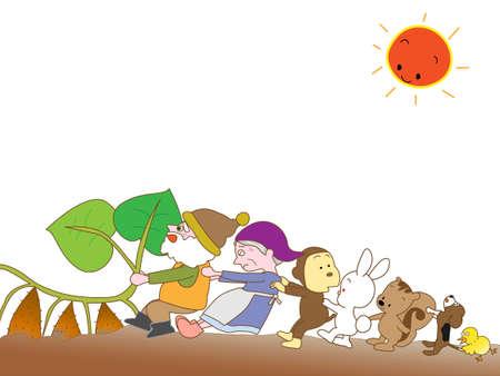 winter garden: Sweet potato harvest Illustration