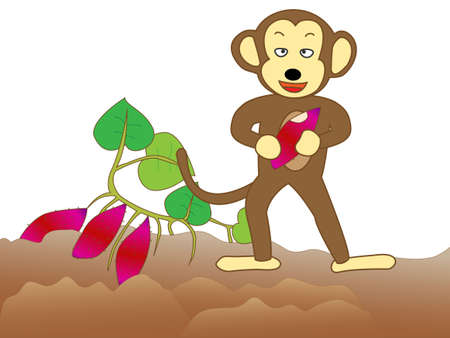 Monkey voracious crops.