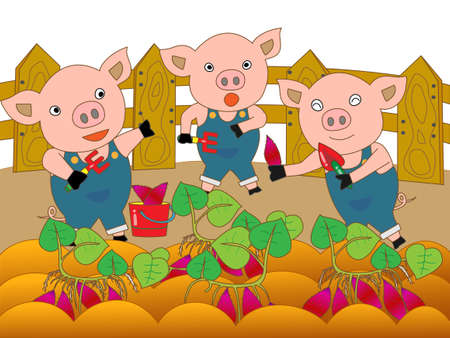 Piglets potato harvest Illustration
