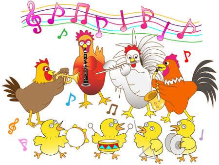 鶏コンサート  イラスト・ベクター素材