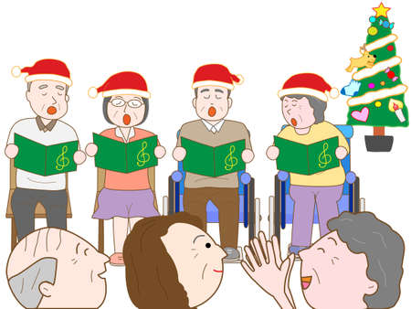 facilities: Christmas concert of the facilities for the elderly Illustration