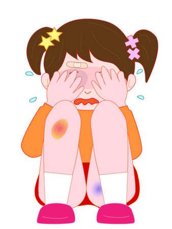 Children hurt and cry Illustration