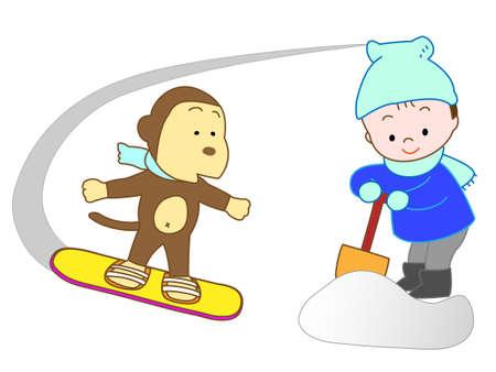 ski slope: Snowboarding in animals Illustration