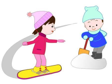 ski slope: Kids snowboard Illustration
