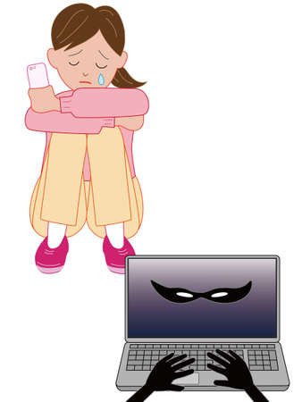 sad little girl: In Internet harassment a crying woman