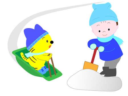 ski slope: Sleigh play for animals