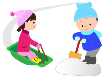 ski slope: Childs sleigh play Illustration