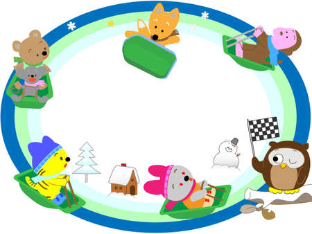Animal winter sports title frame