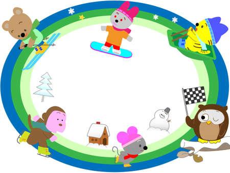 Animal winter sports title frame
