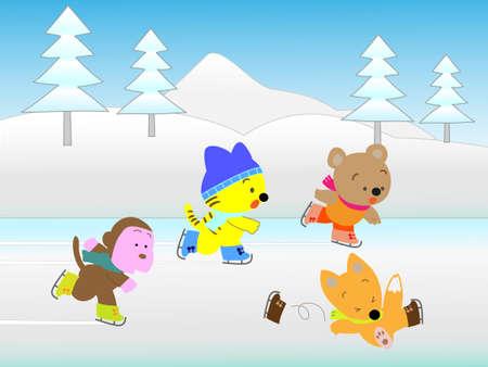 escuela infantil: deportes de invierno de los animales