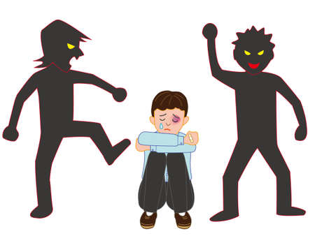 The boy being bullied by violence Illustration