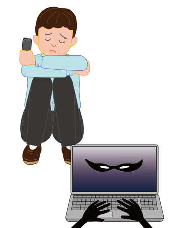 withdrawal: The boy suffered damage in the Internet. Illustration