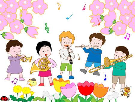 Children's Spring concert Stock Illustratie