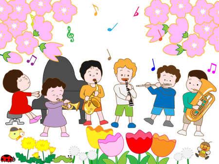 children's: Childrens Spring concert Illustration