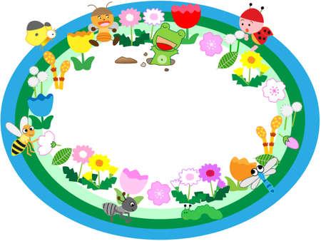 niño preescolar: marco de título de la primavera
