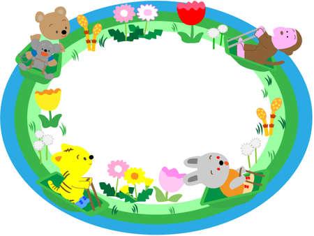 escuela infantil: marco de título de la primavera