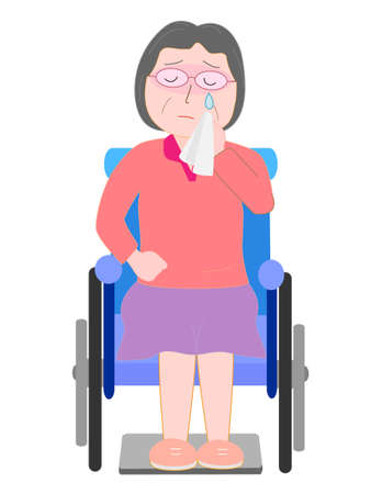 unhappy family: The elderly wheelchair crying