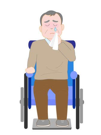 ageing: The elderly wheelchair crying