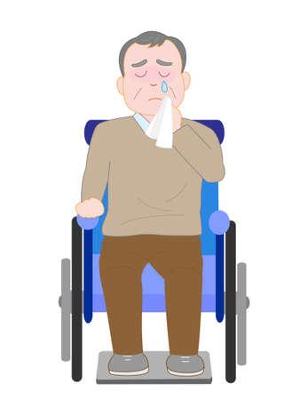 rehab: The elderly wheelchair crying