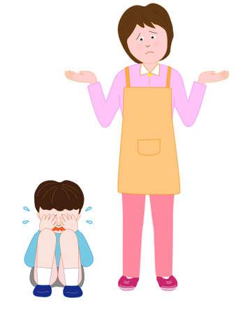 Huilende kinderen in de verbijsterde vrouw