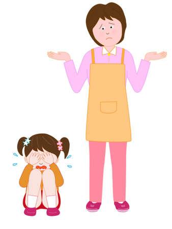 Huilende kinderen in de verbijsterde vrouw Vector Illustratie