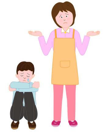 escuela infantil: Niños llorando en la mujer desconcertada Vectores