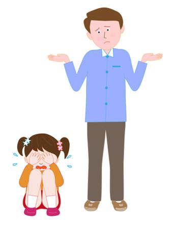 Huilend kind aan de mens in de war
