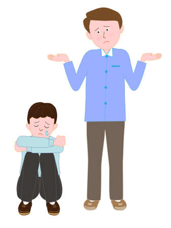 sad little girl: Crying child to man confused Illustration