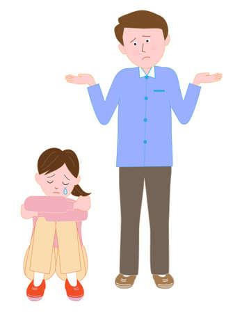 Huilend kind aan de mens in de war Vector Illustratie
