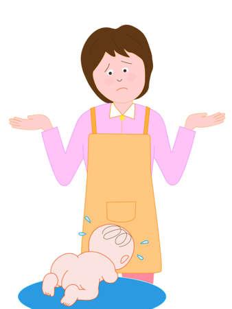 Baby huilt de verbijsterde vrouw
