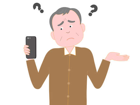 Have difficulties working with smart phone for the elderly Illustration