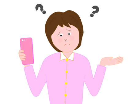 Women have difficulties working with smart phones Illustration