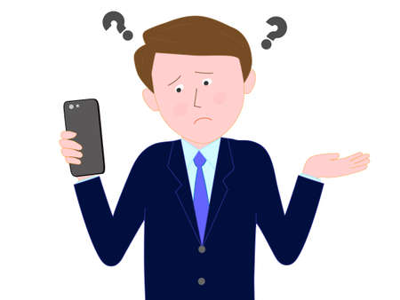 Businessmen have difficulties working with smart phones