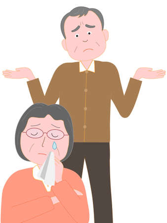 unhappy family: Fight in the elderly Illustration