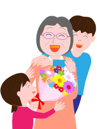 grandparent: Grandchildren presented him with bouquets to Grandma Illustration