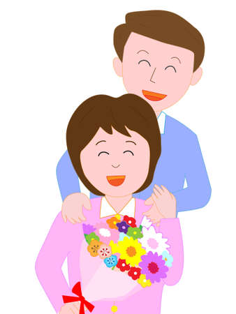Husband presents a bouquet of flowers to his wife Illustration