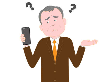 is troubled: Corporate senior troubled Smartphone problems Illustration