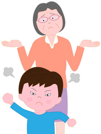 Troubled son angry grandmother Illustration