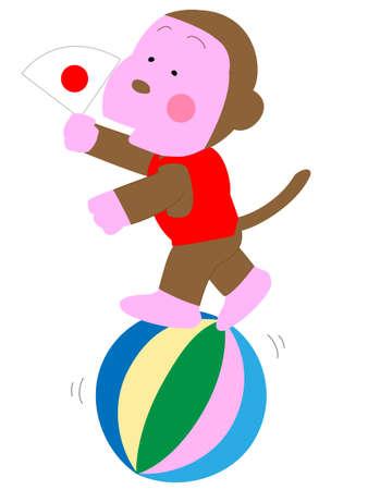 acrobatics: Monkey standing on a ball showing acrobatic tricks.