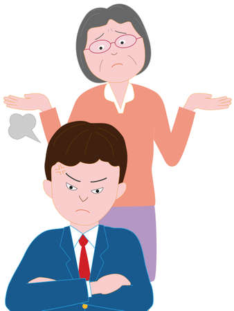 Grootmoeder boos mannen middelbare school kleinkinderen